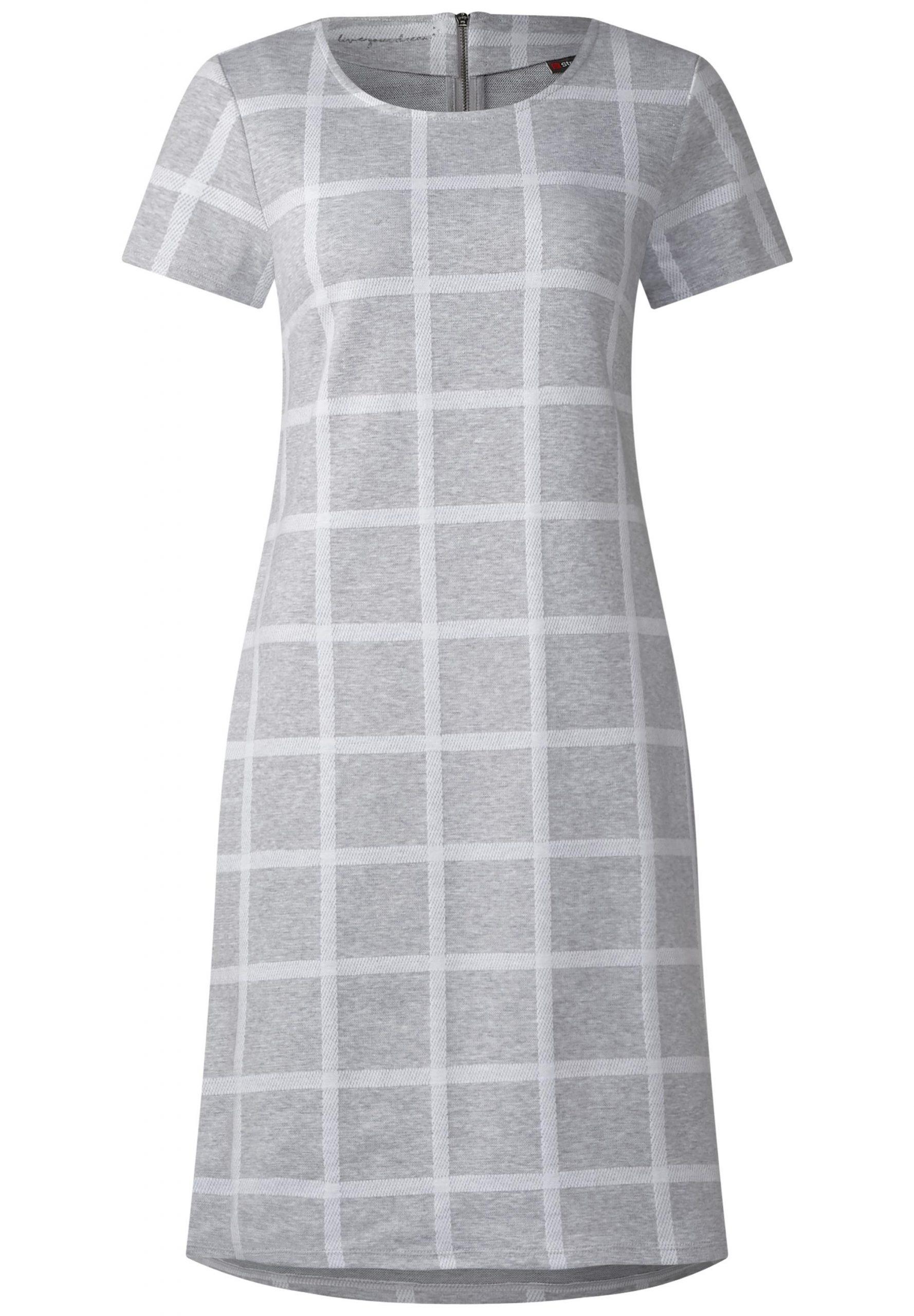 Sportliches Karo Kleid In Moon Grey Melange Von Street One