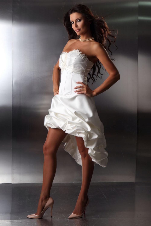Standesamtkleid Brautkleid Vorne Kurz Hinten Lang Taft