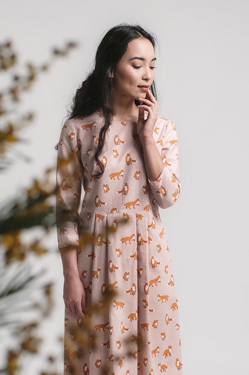 Staubige Rosa Midikleid Fuchs Druck Romantische Kleider