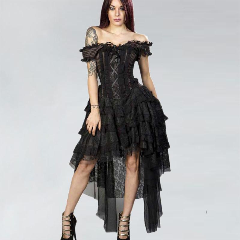 Steampunk Ophelie Korsett Kleid Mit Nadelstreifen