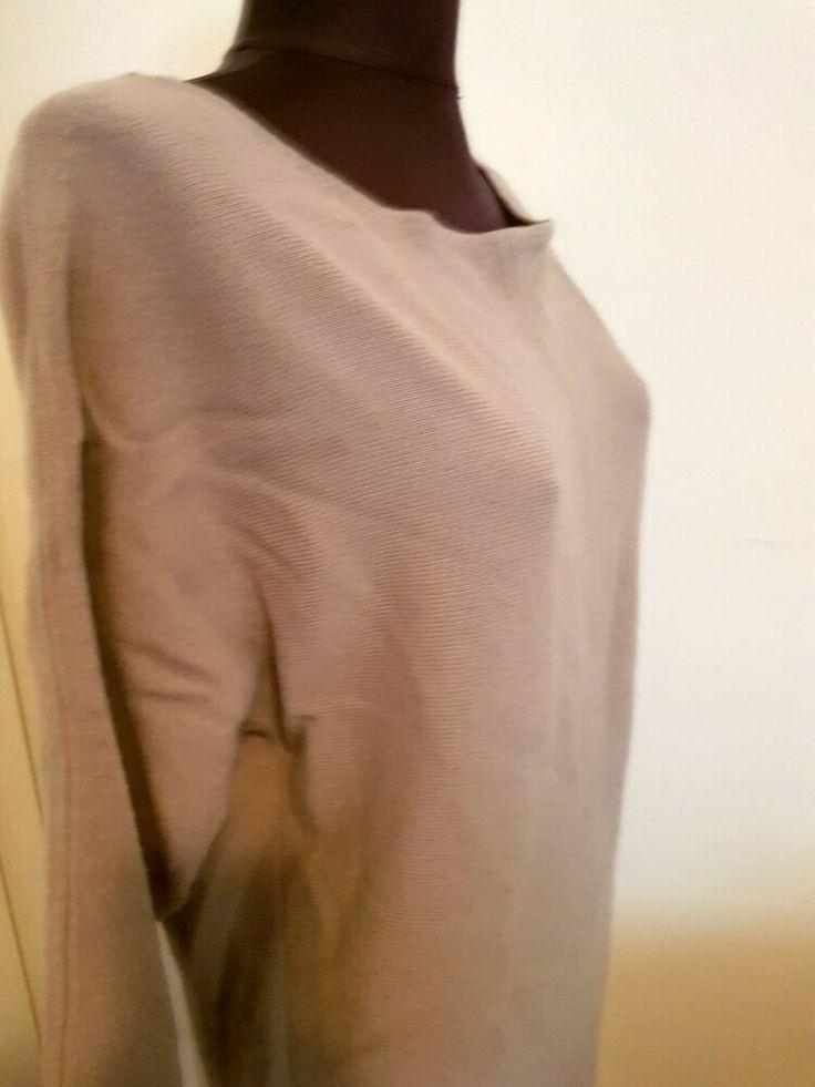 Stefanel Strickkleid Damen Kleid Gr 42 Beige 100 Wolle