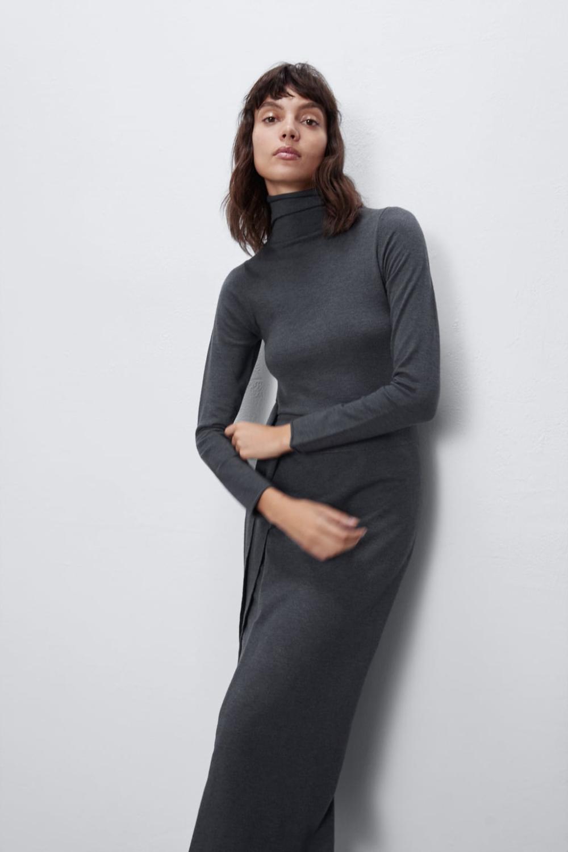 Stickad Sarongklänning I 2020  Wrap Klänning Zara Långärmad