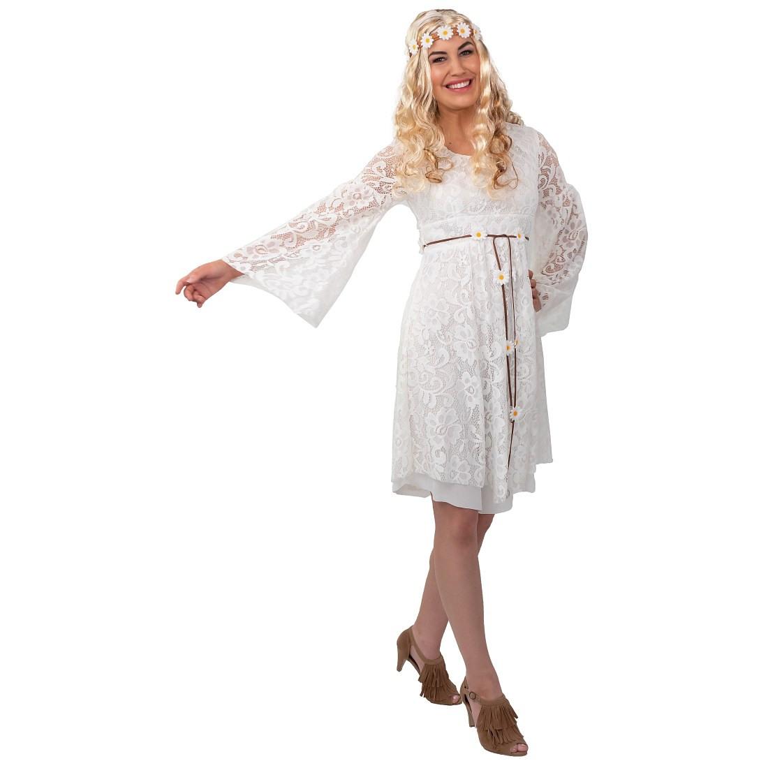 Stilechtes Hippiekleid Mit Spitze Für Erwachsene Weiß 37
