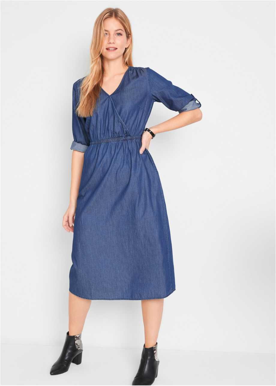 Stilvolles Jeanskleid In Wickeloptik 3/4 Arm  Blau