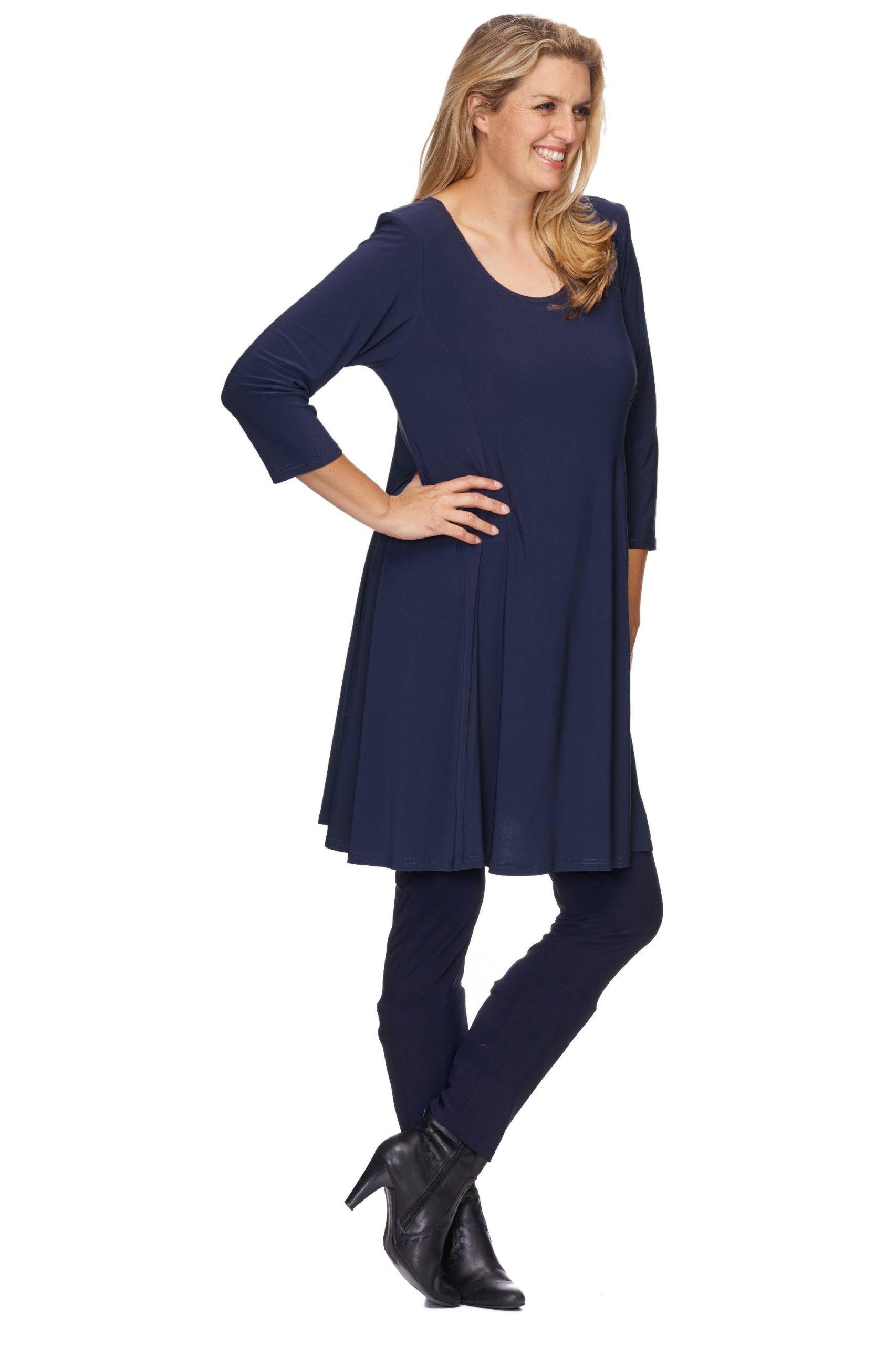 Stilvolles Magna Damen Tunika Kleid Rundhalsausschnitt