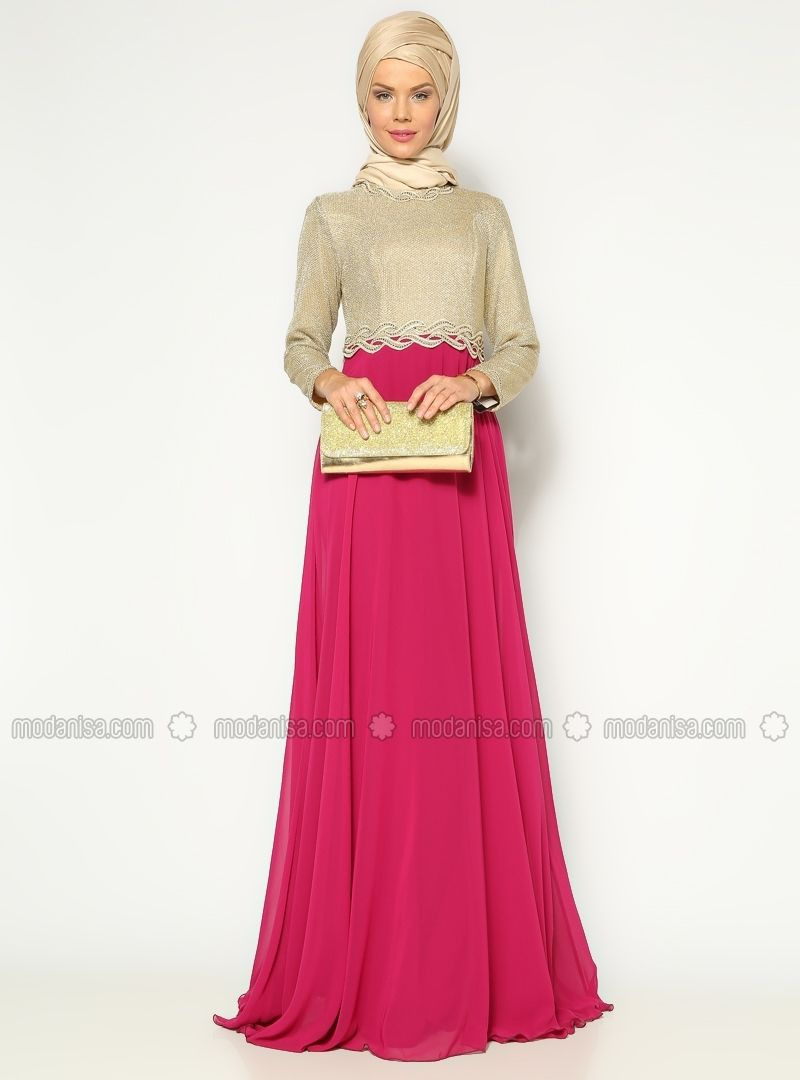 Stone Embroidered Evening Dress  Pink  Muslim Evening
