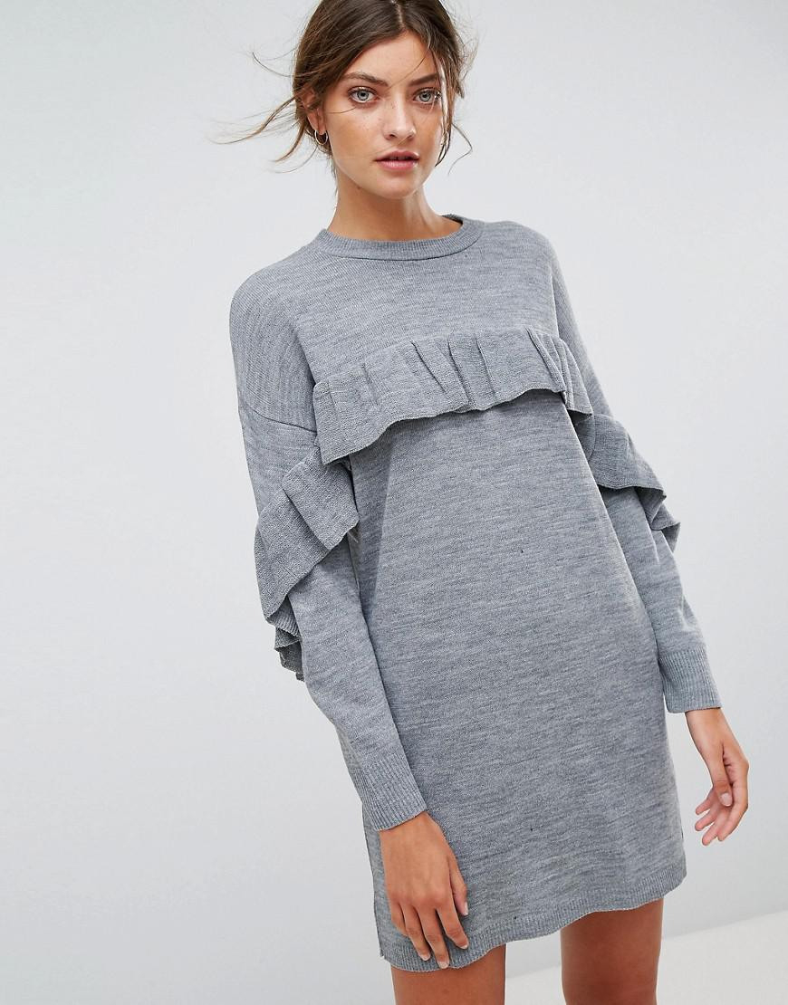 Stradivarius Synthetic Frill Knitted Dress In Grey Gray