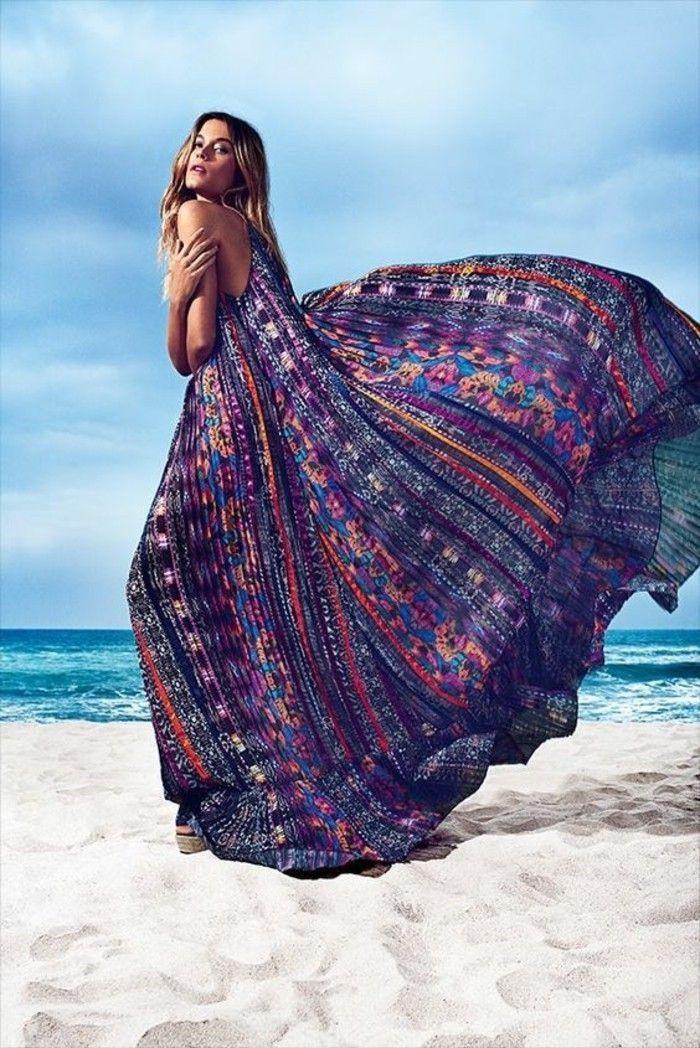 Strand Pareo Langes Kleid Extravagante Exotische Lila