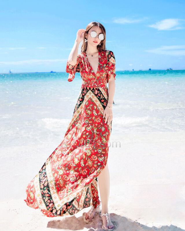 Strandkleidung Lange Rot Cut Out Tiefer Ausschnitt Empire