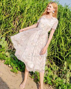 Strandkleidung Rundhalsausschnitt Prinzessin Bohemian