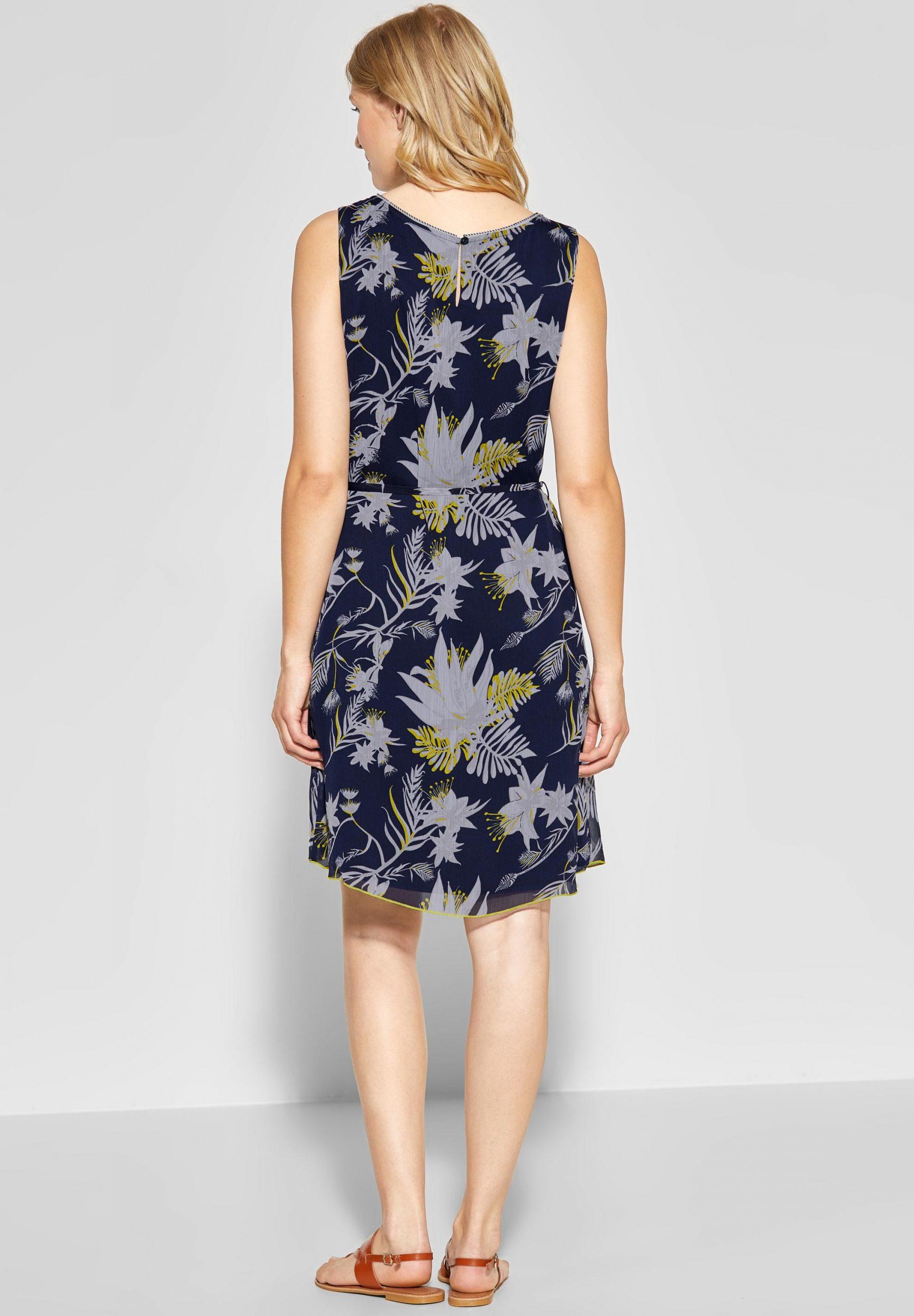 Street One  Chiffon Kleid Mit Blumen In Deep Blue