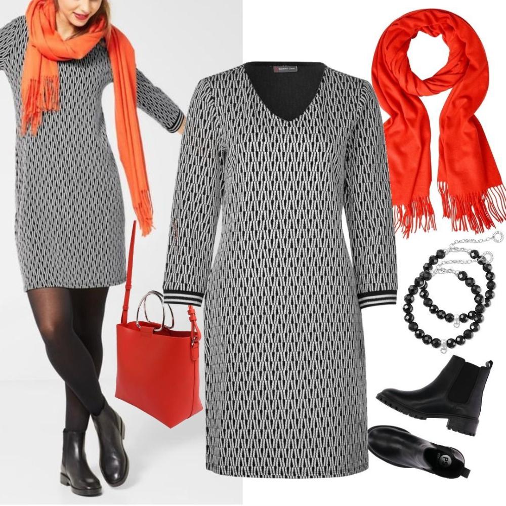 Street One Grafisches Kleid Mit Glitzer Outfit Für Damen