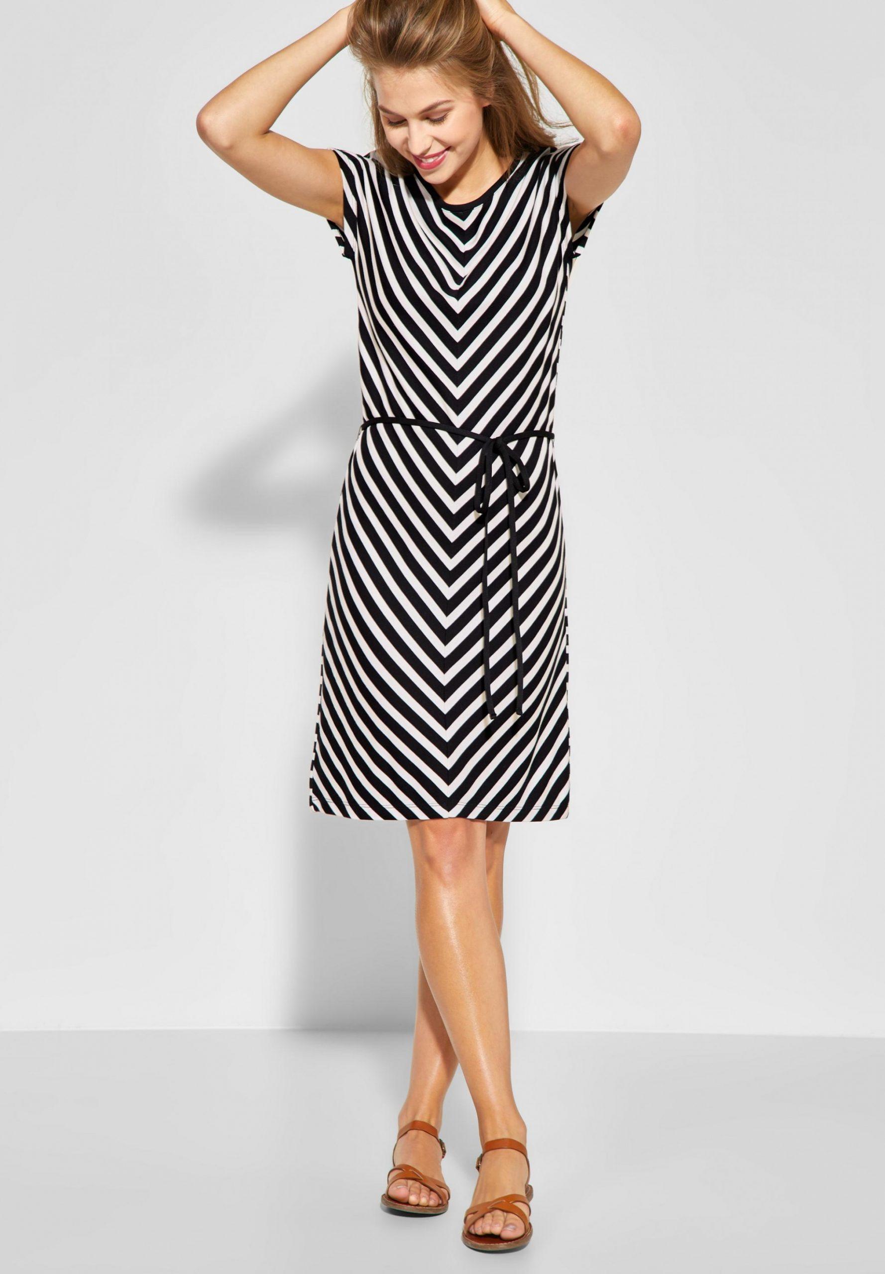 Street One Jersey Kleid Mit Streifen In Black Kleid Mit