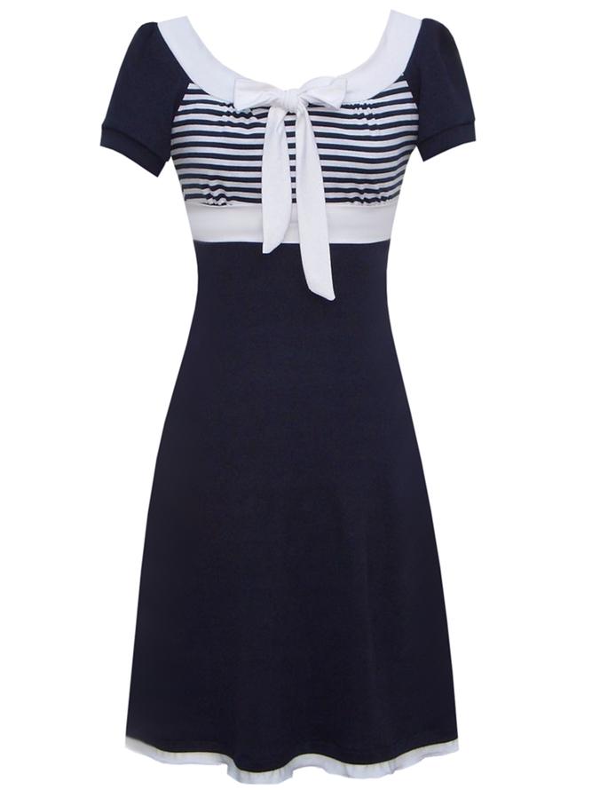 Streifen Kurzarm Freizeitkleider  Robes  Marineblau