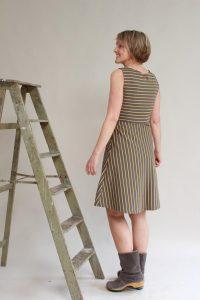 Streifenkleid Kleid Mit Vausschnitt Trägerkleid Hedy  Etsy