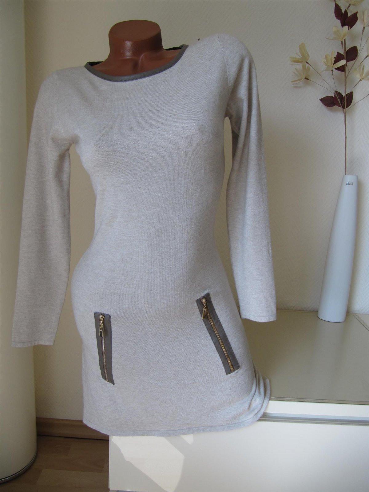 Strick Kleid Tunika Pulli Pullover Stiefelkleid