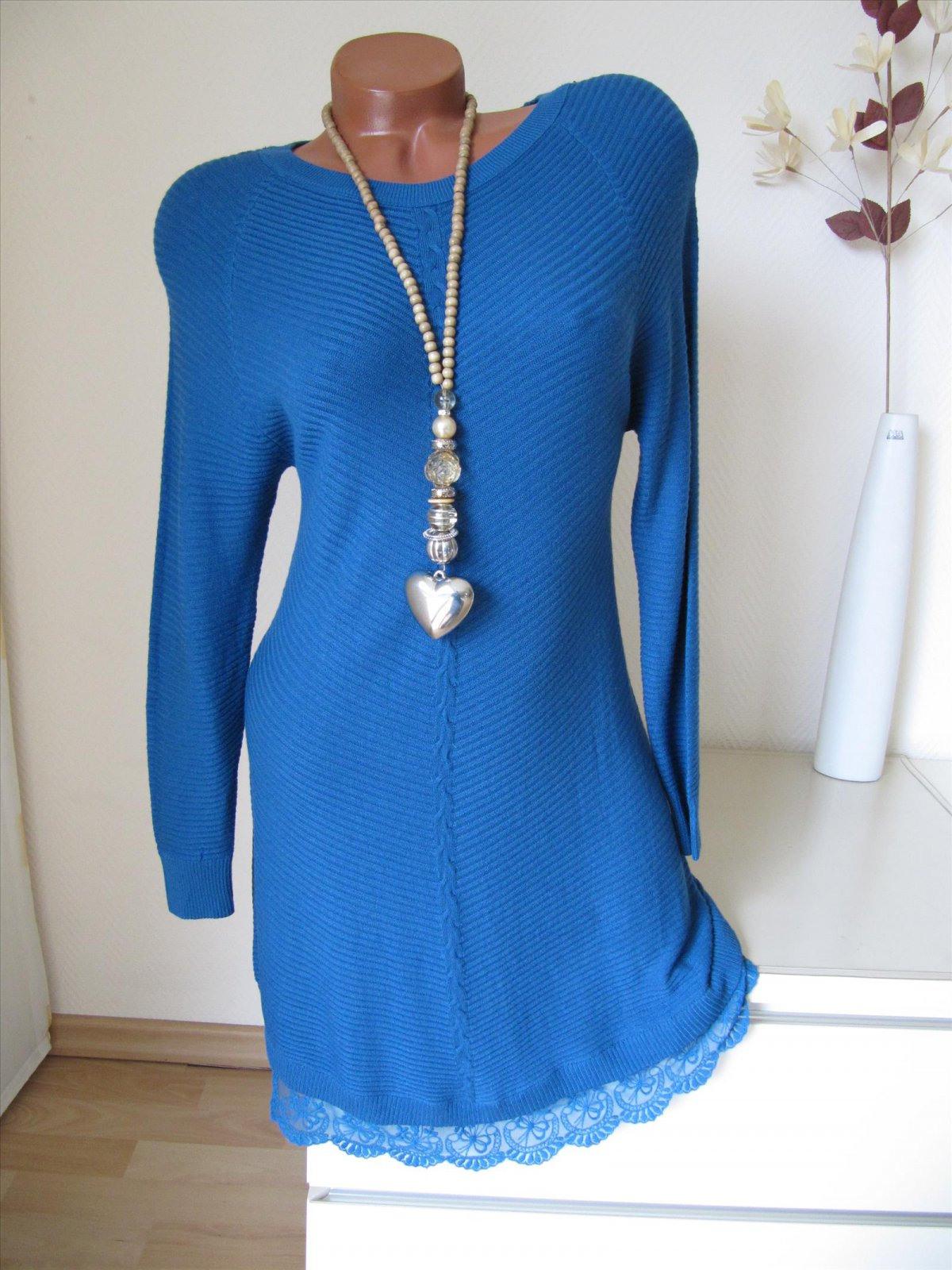 Strick Kleid Tunika Pullover Pulli Spitze Volant 15
