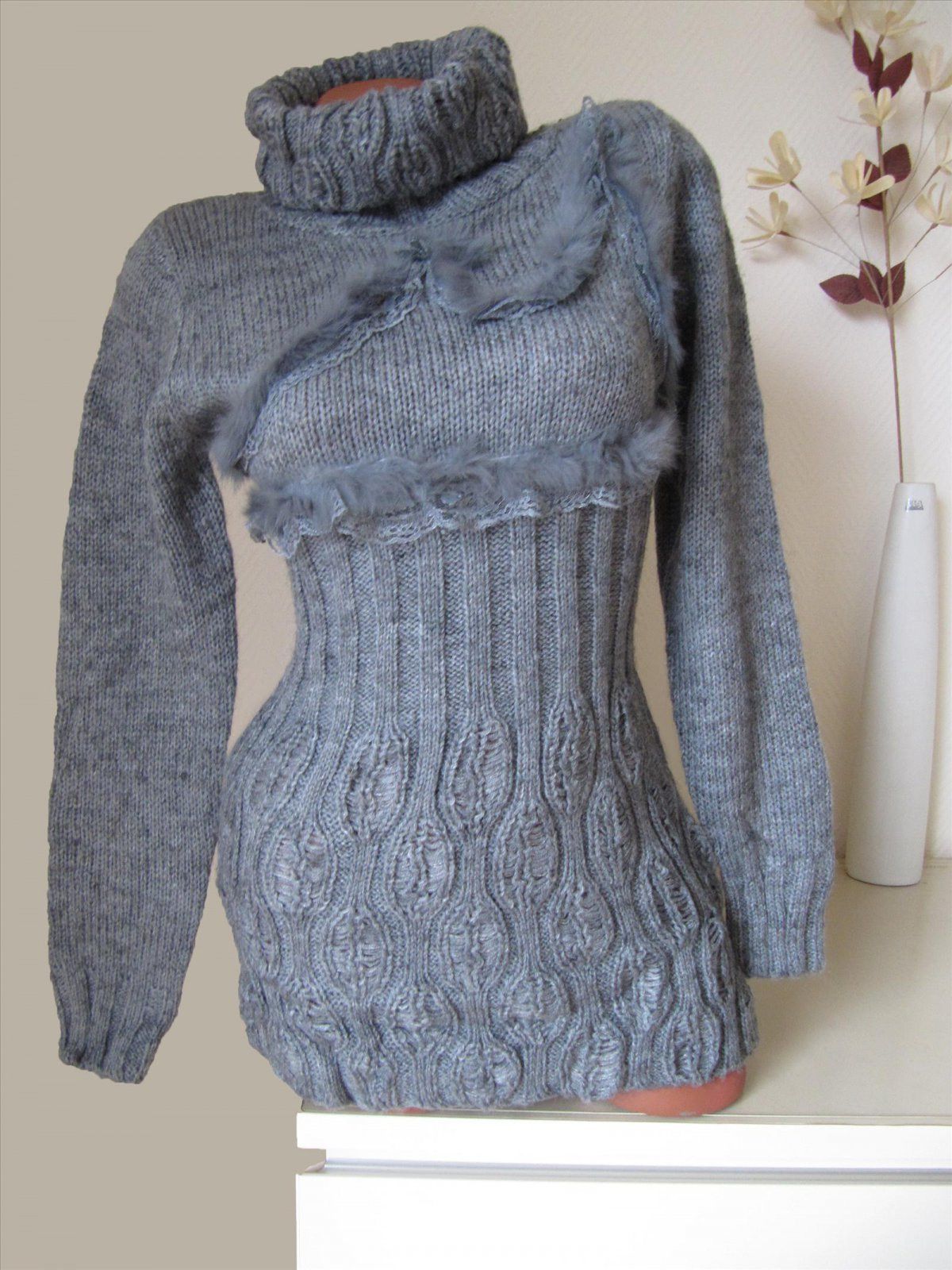 Strick Long Pullover Pulli Kleid Echt Fell Mit Spitze