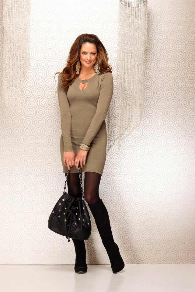 Strickkleid Beige  Kleider  Outlet Modeshop