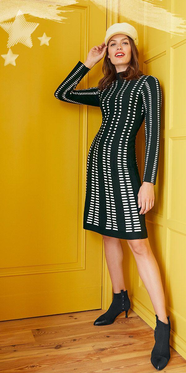 Strickkleid In Intarsienstrick  Kleid Mit Ärmel