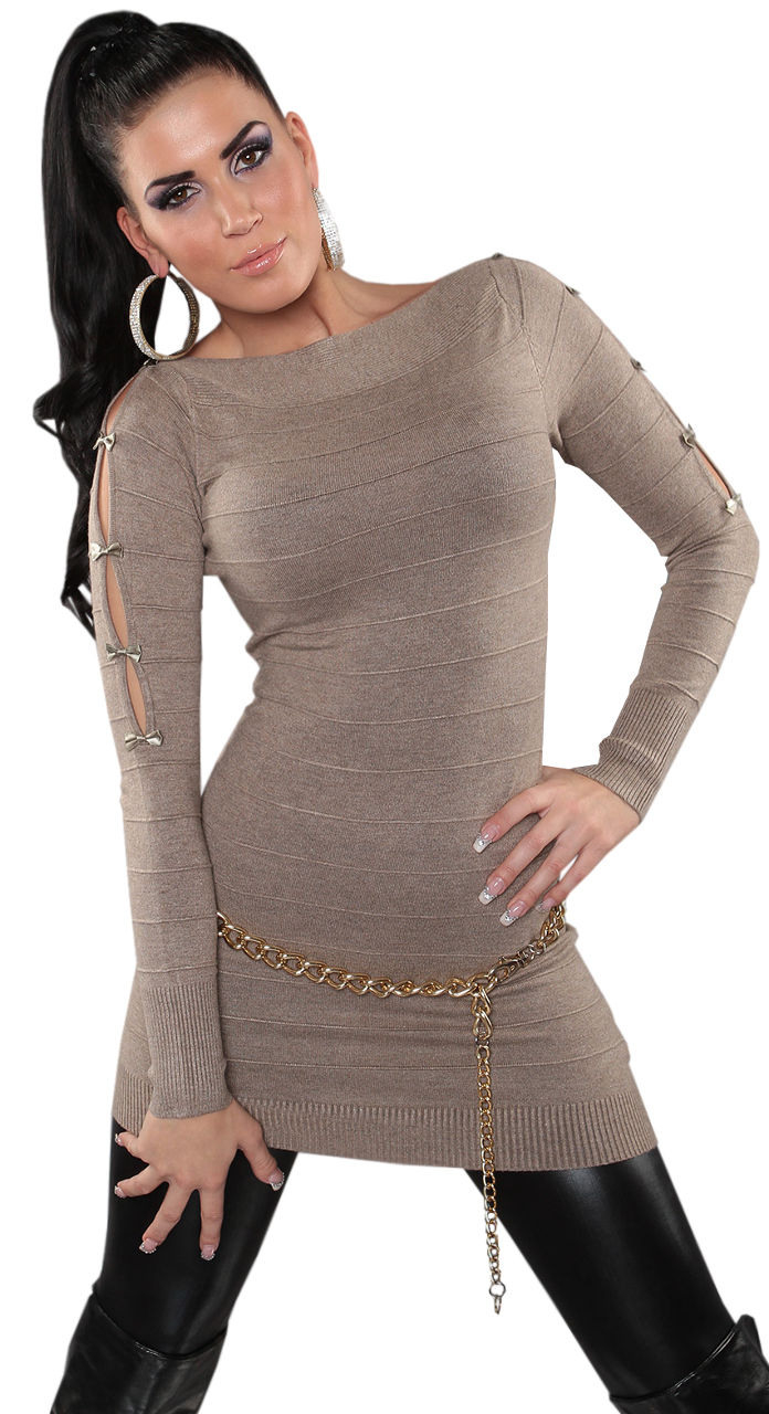 Strickkleid Mini Kleid Pullover Sweater Damen Winter