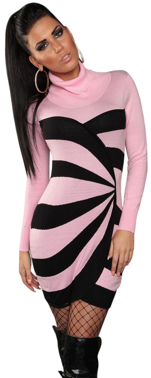 Strickkleid Mini Pullover Damen Rollkragen Neu Kleid