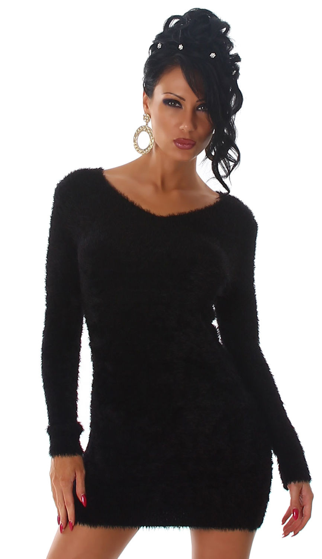 Strickkleid Mini Pullover Lang Flauschig Sweater Strick