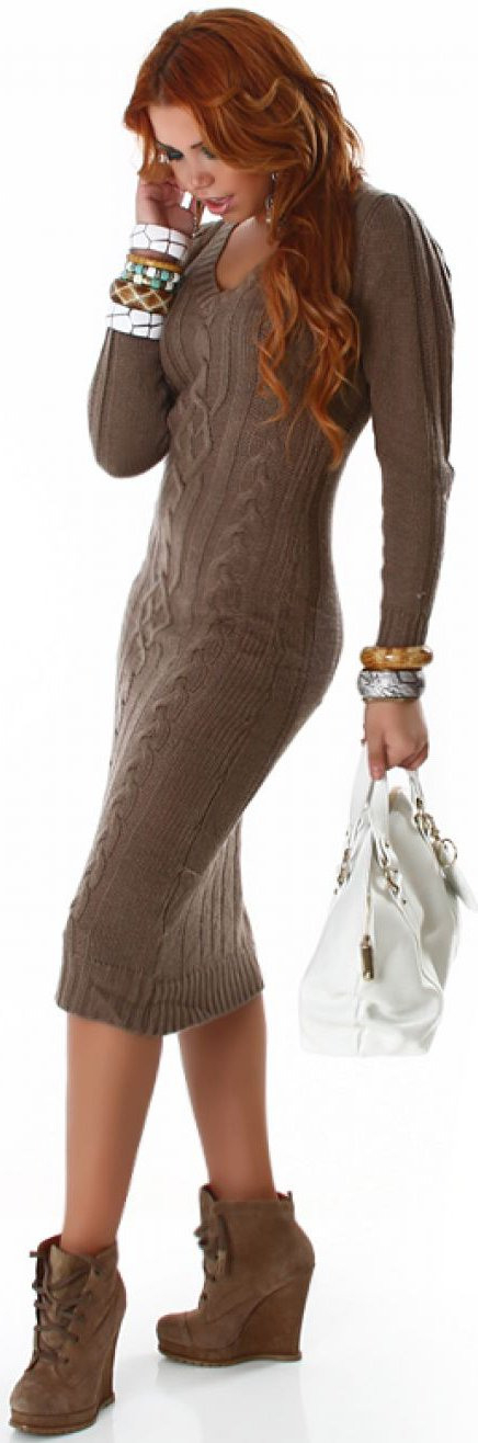 Strickkleid Pullover Lang Sweatshirt Damen Winter Kleid