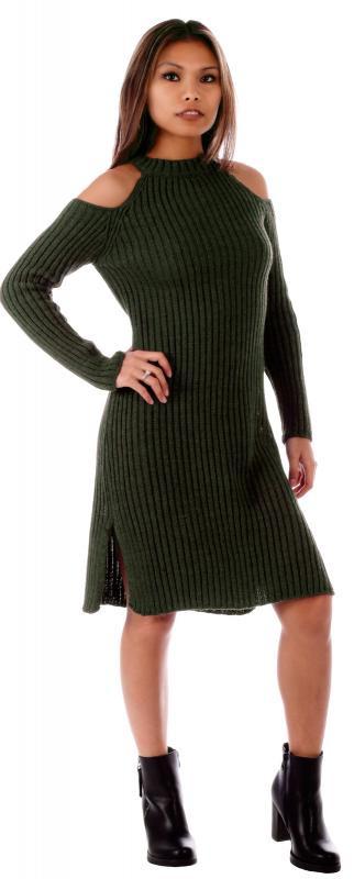 Strickkleid Pulloverkleid Langarm Mit Gehschlitz  Mode