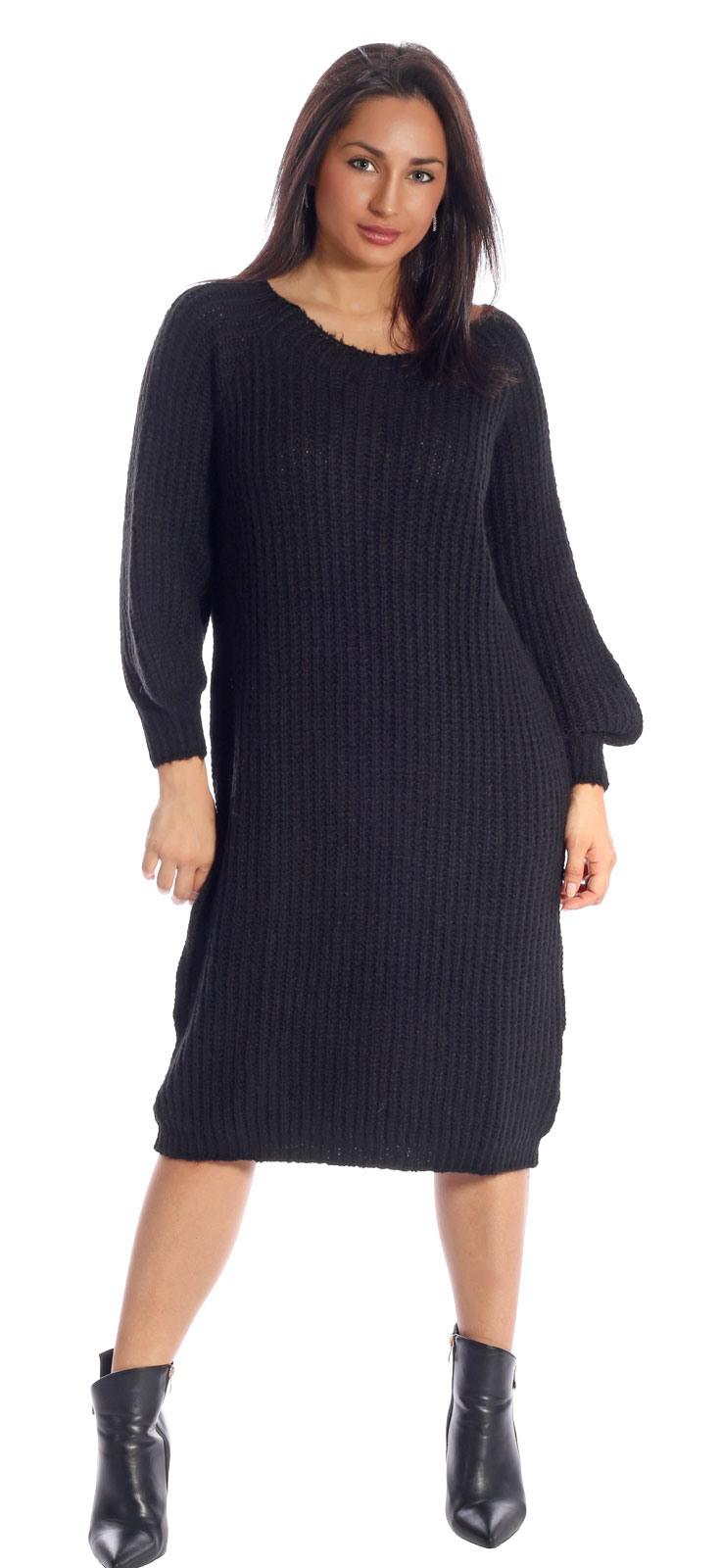 Strickkleid Pulloverkleid Langarm Mit Rundhalsausschnitt