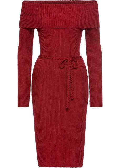 Strickkleid Rot Damen Kleider Carmenausschnitt Kleid