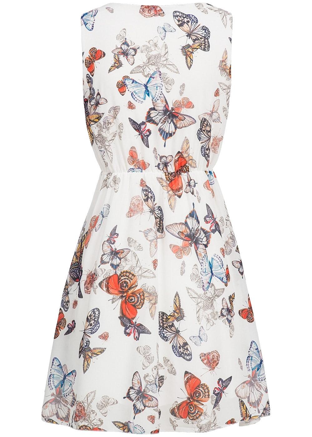 Styleboom Fashion Damen Mini Kleid Gummizug Schmetterling