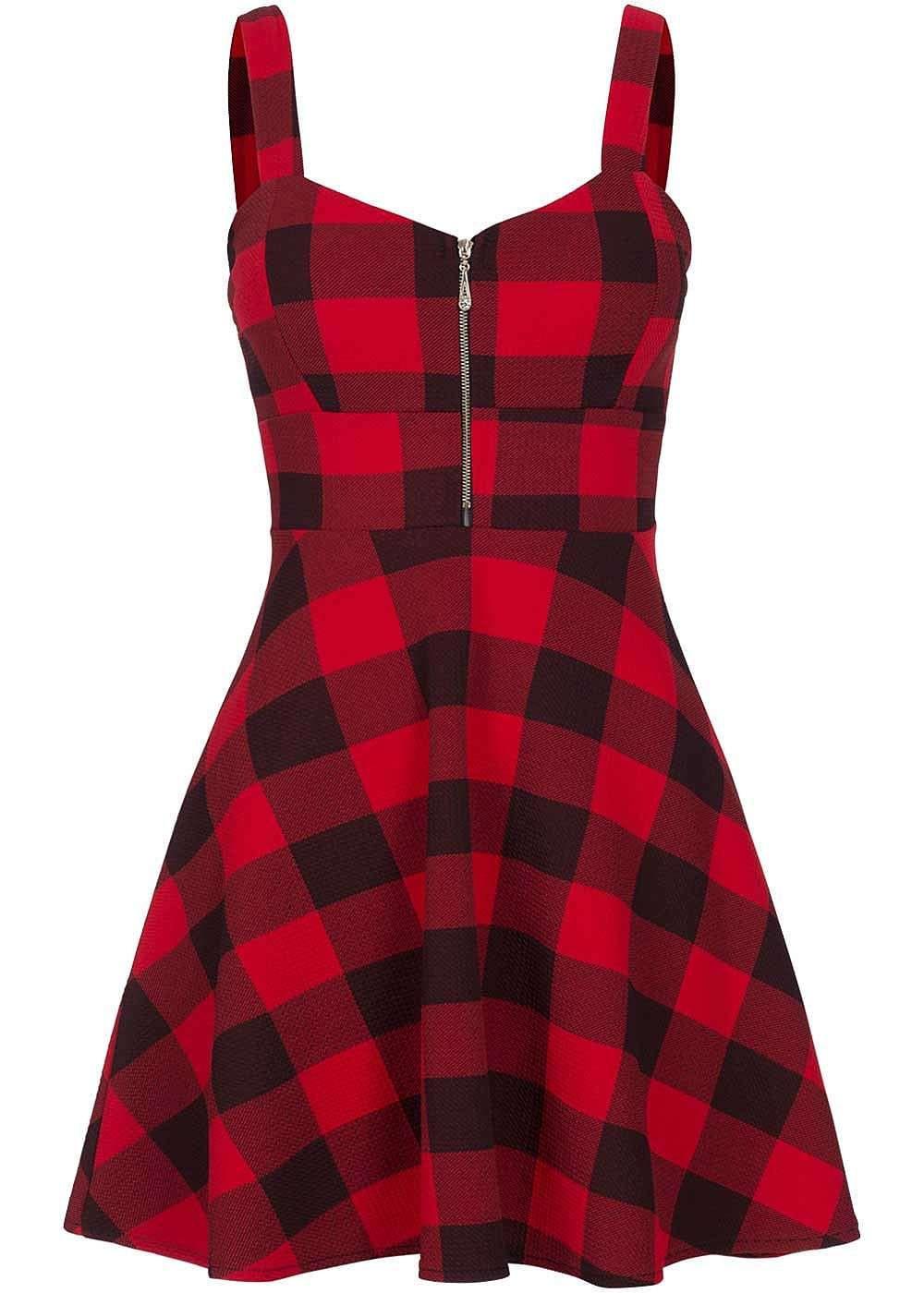 Styleboom Fashion Damen Mini Kleid Karo Muster Brustpads