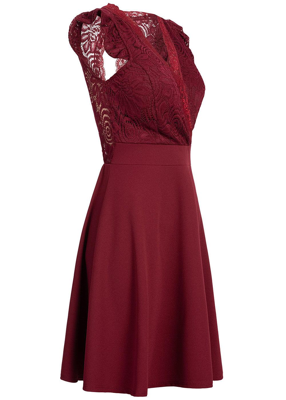 Styleboom Fashion Damen Mini Kleid Spitzen Details