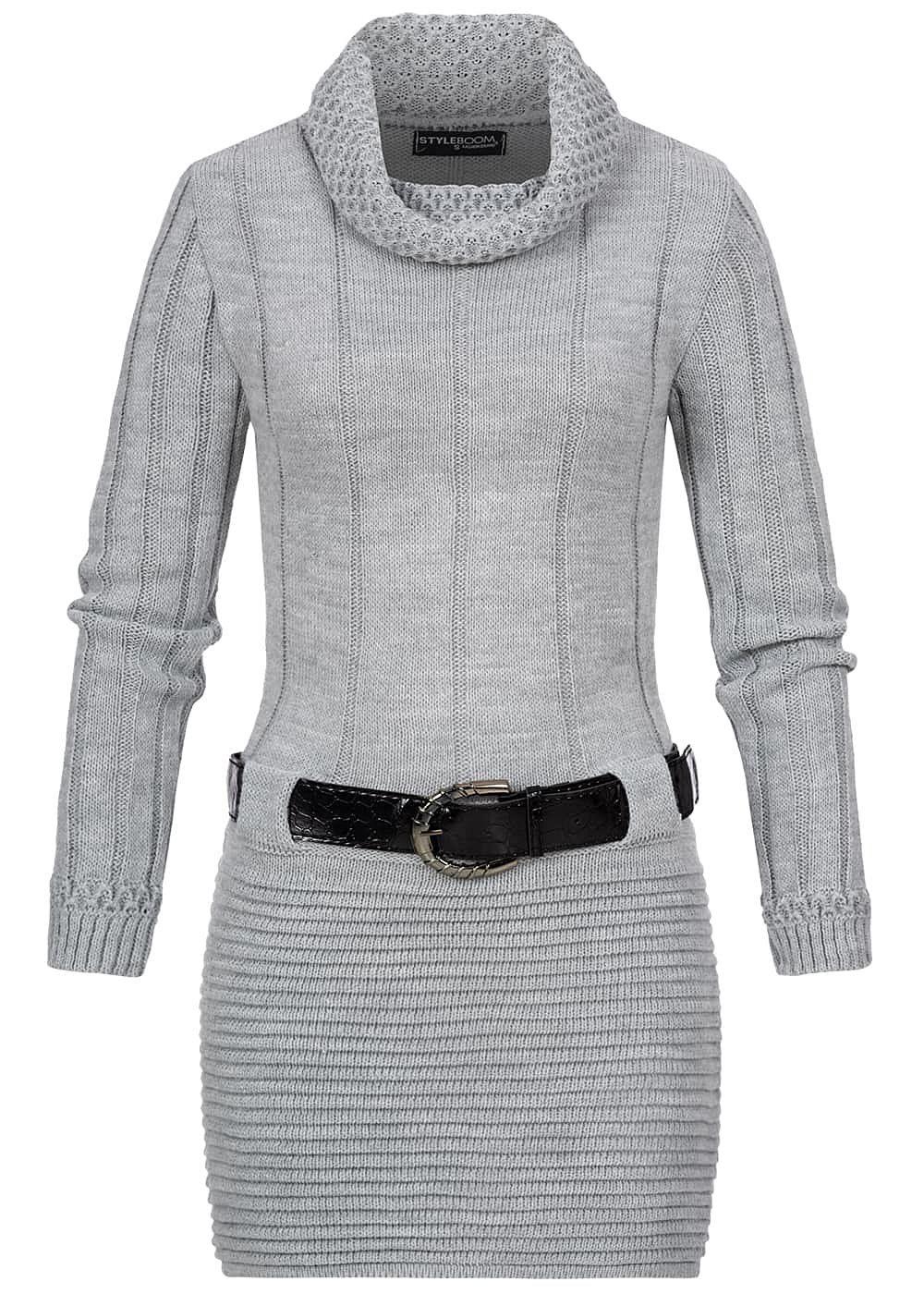 Styleboom Fashion Damen Turtle-Neck Strickkleid Inkl