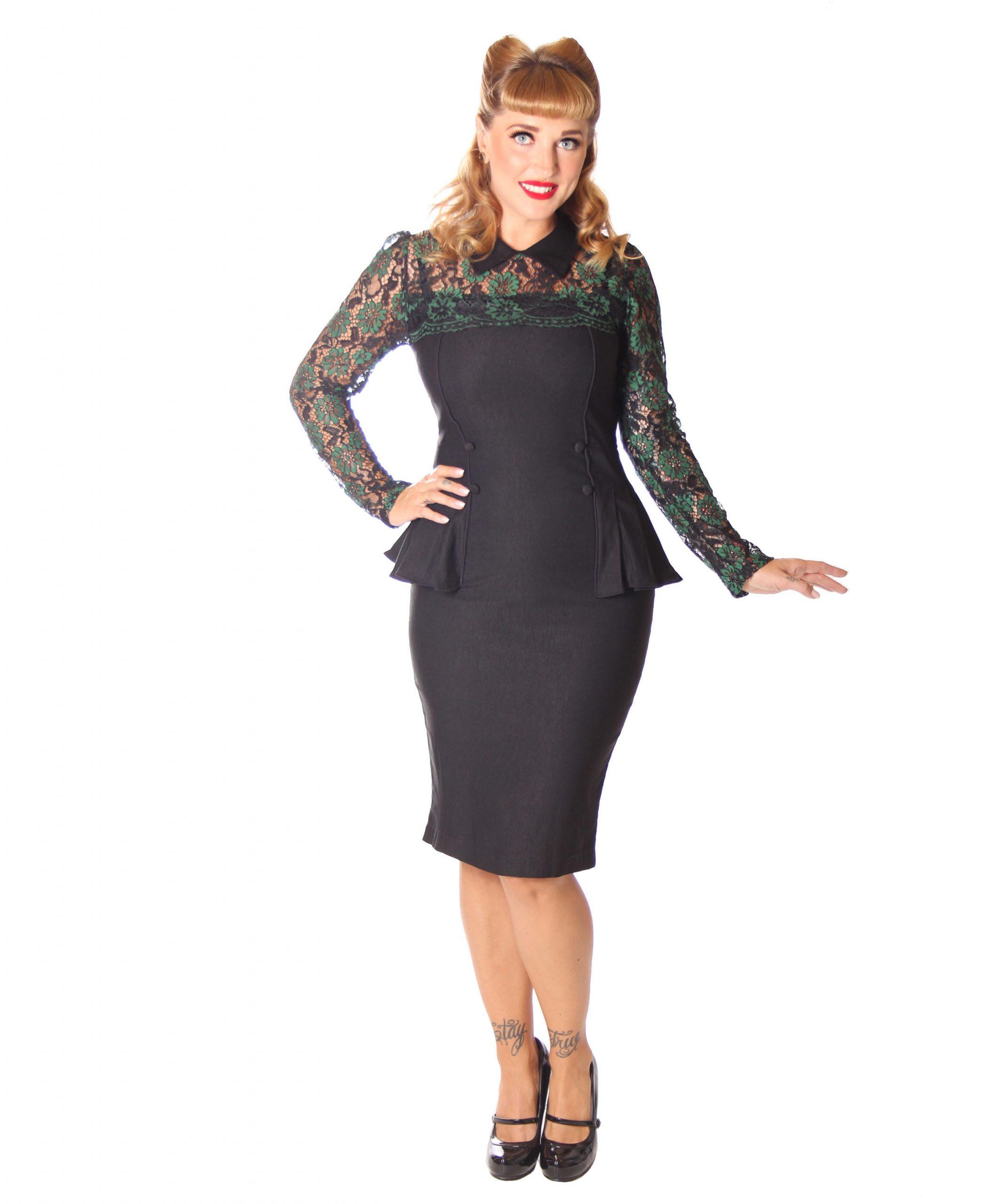 Sugarshock Dahee 40Er Jahre Schößchen Pencil Spitzen Kleid