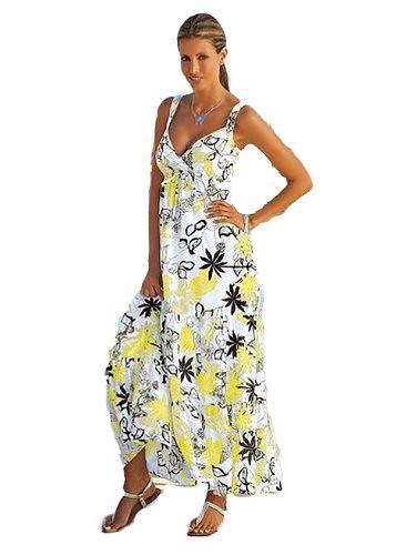 Süßes Maxikleid Sommerkleid Gelb Bunt Gr38 830 Auf Verk