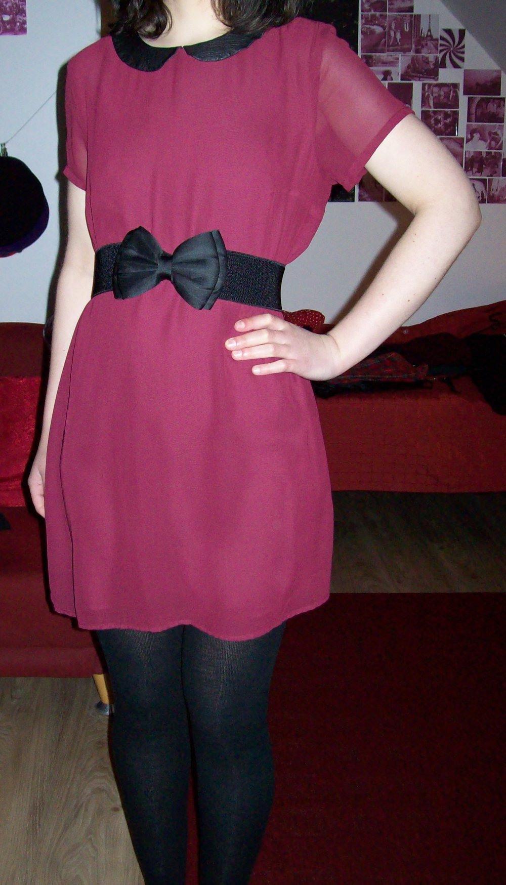 Süßes Rotes Weinrotes Bordeauxrotes Kleid Minikleid Tunika