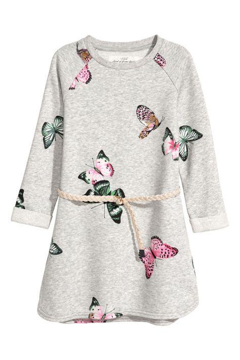 Sweatkleid  Hellgraumeliert/Schmetterlinge  Kinder  Hm