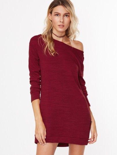 Sweatshirt Kleid 2019 Mit Asymmetrische Schulter In
