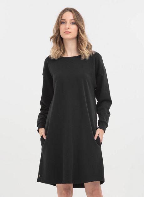 Sweatshirt Kleid Schwarz