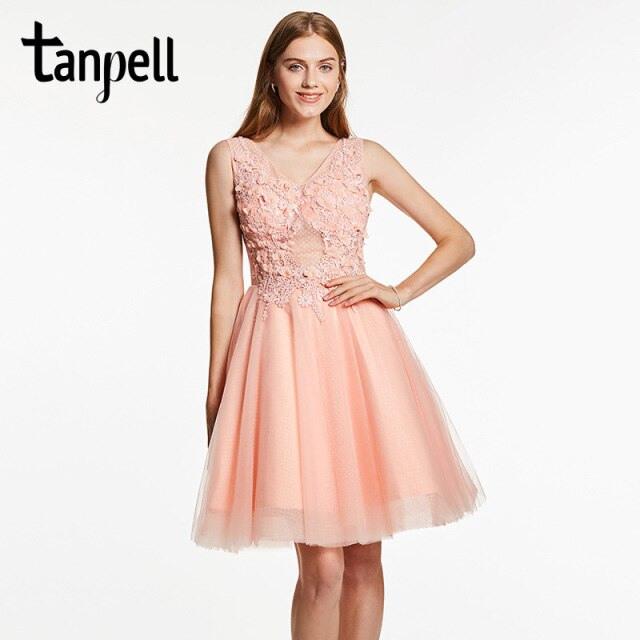 Tanpell Appliques Homecoming Kleid Rosa V Ausschnitt