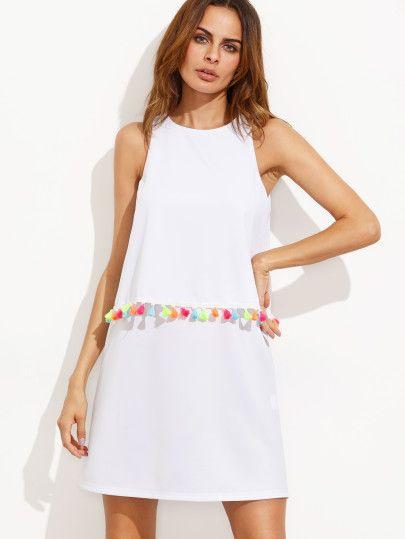 Tassel Trim Overlap Back Layer Dress  Sommer Kleider