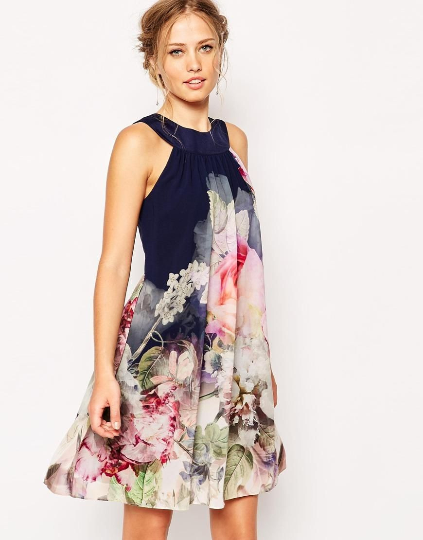 Ted Baker  Ted Baker Swing Dress In Ombre Peony Print At
