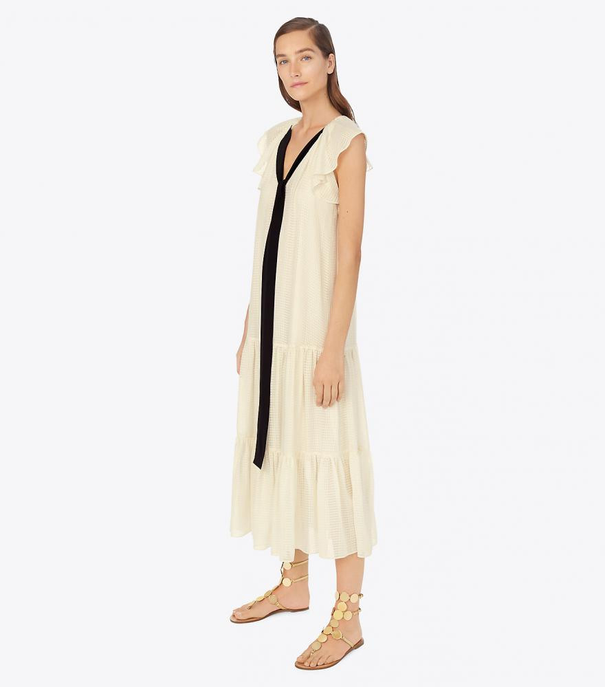 Textured Georgette Maxi Dress Weiß  Damen Tory Burch Kleider
