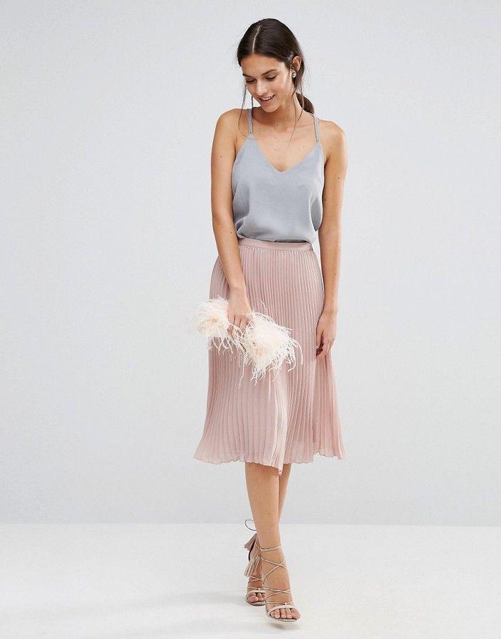 Tfnc Pleated Midi Skirt Mit Bildern  Outfit Hochzeit