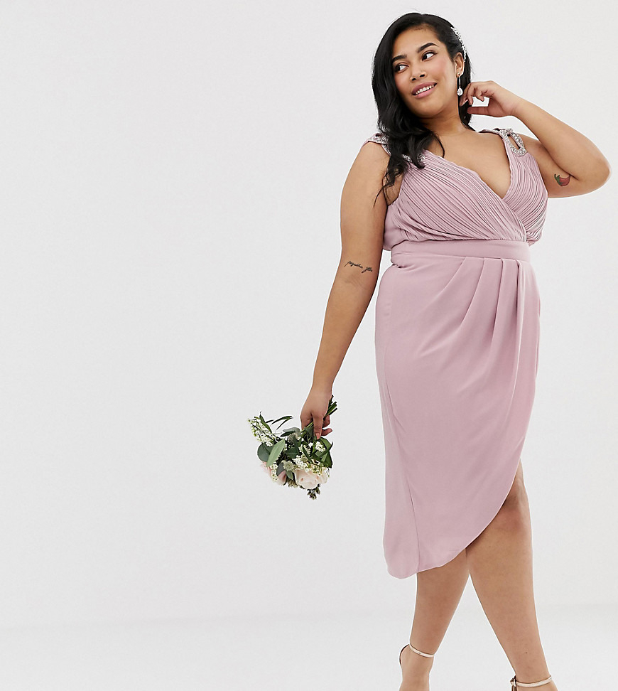 Tfnc Plus  Exklusives Brautjunfgernmidikleid In Rosa Mit