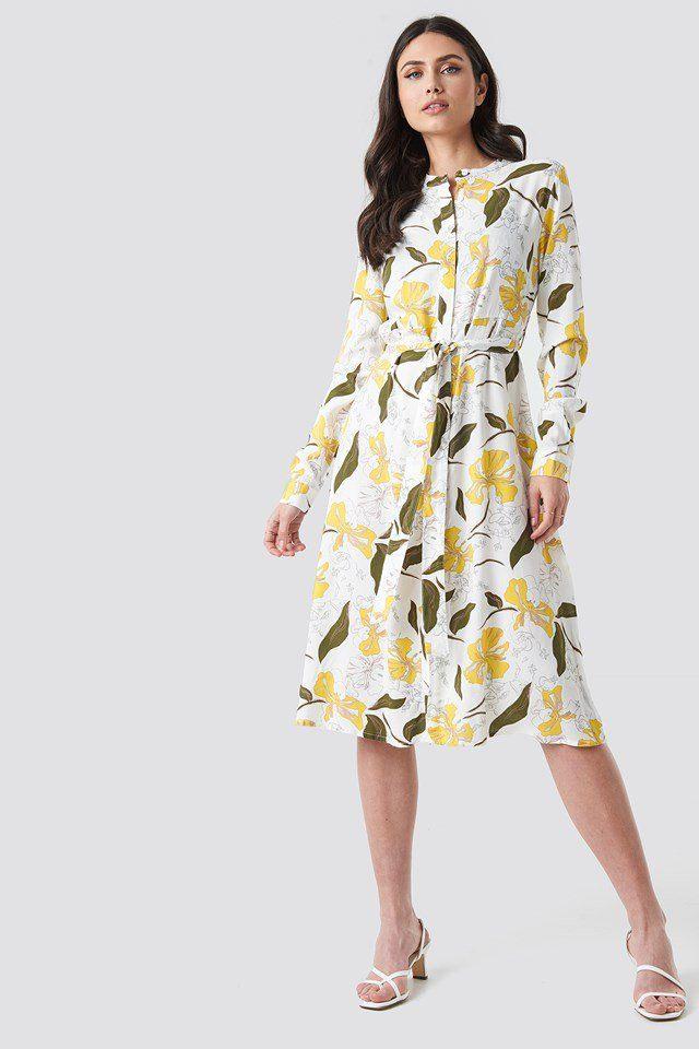 Tie Waist Midi Dress Mehrfarbig  Nakd  Gelbes