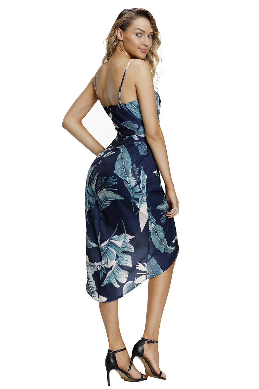 Tiefes Vausschnitt Grün Blätter Boho Kleid Sommerkleid