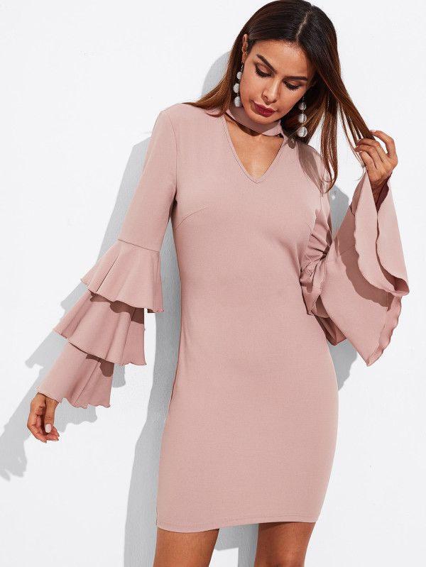 Tiered Fluted Sleeve Choker Neck Dress Sheinsheinside